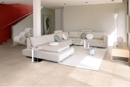 Concrete effect floor tiles - Ivory