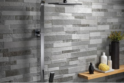 Porcelain stoneware - grey wall effect