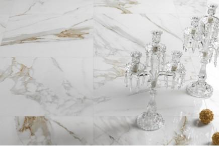 Grès cérame effet marbre mélange crème