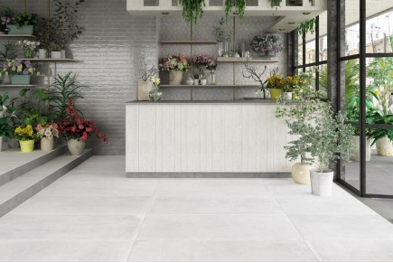 White concrete floor tiles