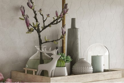 White geometric concrete wall tiles