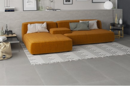 Light grey concrete floor tiles