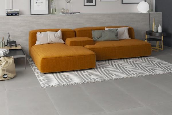 Light grey concrete floor tiles