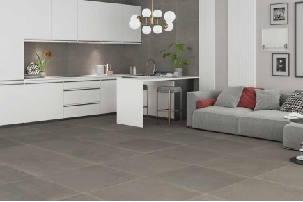 Taupe concrete floor tiles