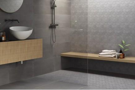 Dark geometric concrete wall tiles
