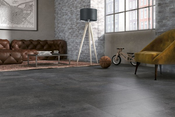 Concrete effect floor black