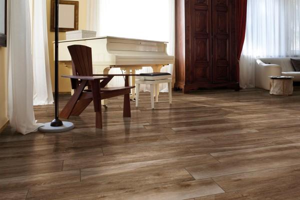 Wood effect floor tiles - nut