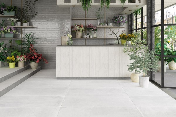 White concrete floor tiles