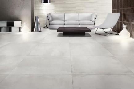 Concrete effect floor tobacco
