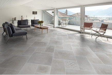 Concrete effect floor white