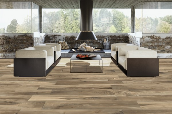 Wood effect floor tiles oak