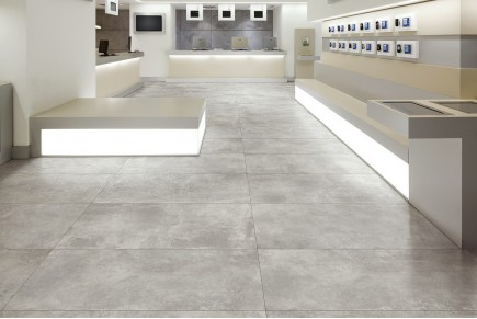 Concrete effect floor tiles stencil