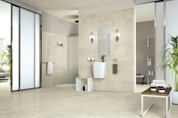 Concrete effect floor tiles sponge