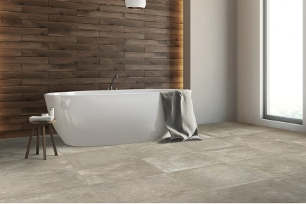 Concrete effect floor tiles taupe