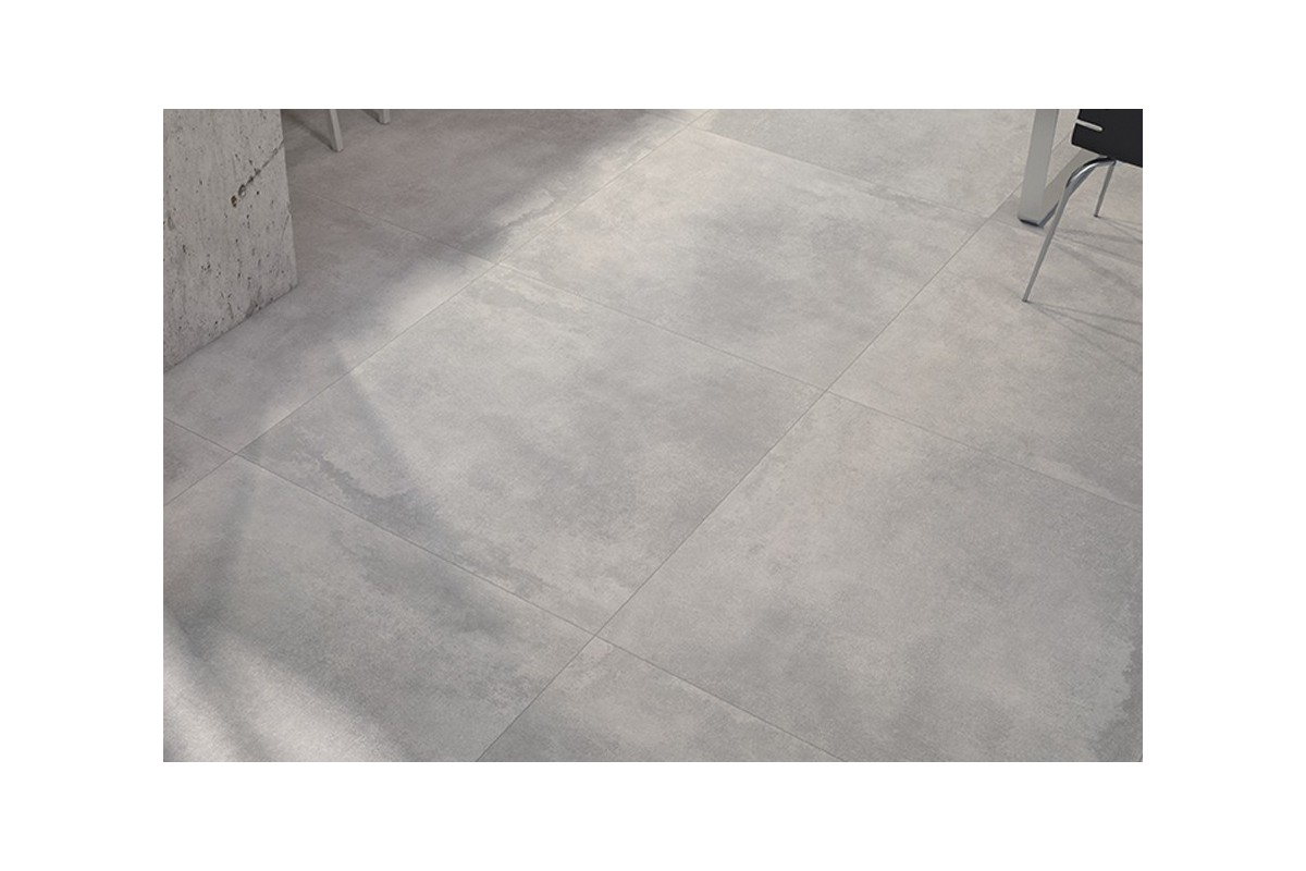 Carrelage int rieur contemporain new concrete 60x60 - Table en gres cerame ...