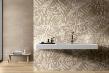 Decoro 'Leaves' Sand/Taupe