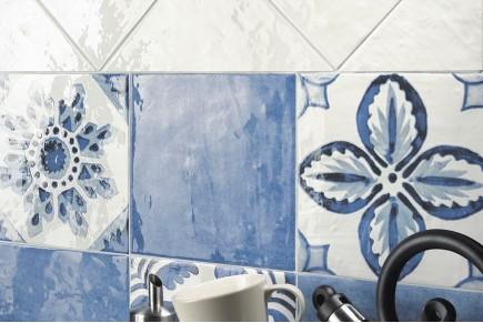 Décorum texture blanche et bleue