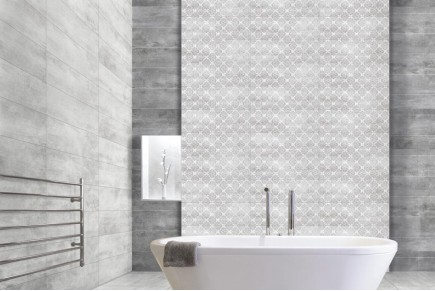 Damask paint white wall tiles