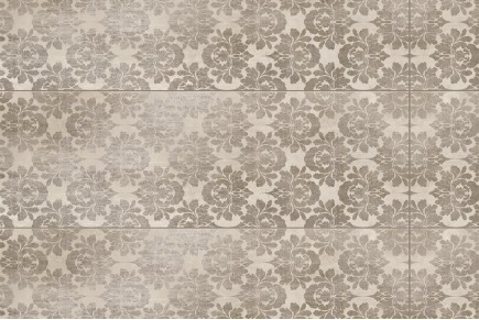 Damask paint brown wall tiles