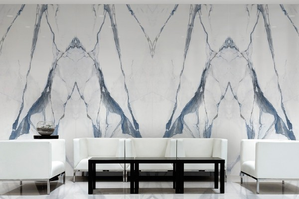 Blue and white semi polished marble