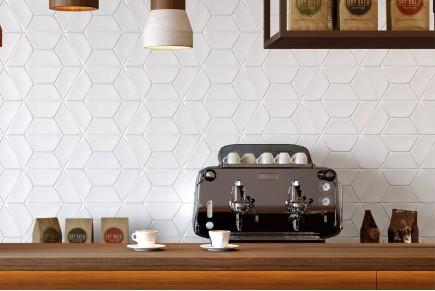 Smooth hexagonal tiles - Matt white