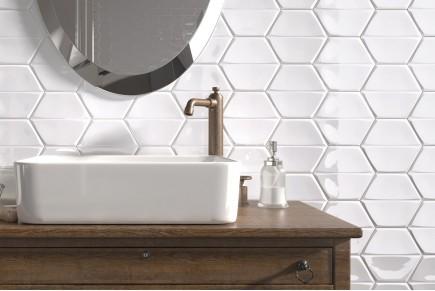 Smooth hexagonal tiles - Bright white