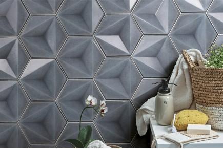Sparkling hexagonal tiles - grey