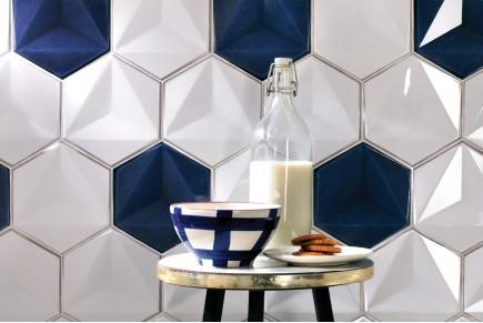 Sparkling hexagonal tiles - Mix blue and white