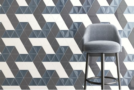 Carrelage triangulaire - Mix Storm glossy 3d, Dark grey and White glossy