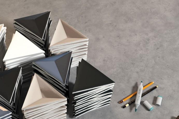 Triangular tiles - dark grey glossy 3d
