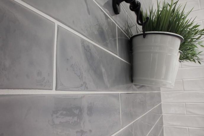 American glossy brick tiles - smoke