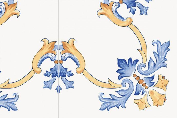 Retrò decorum with blue flowers
