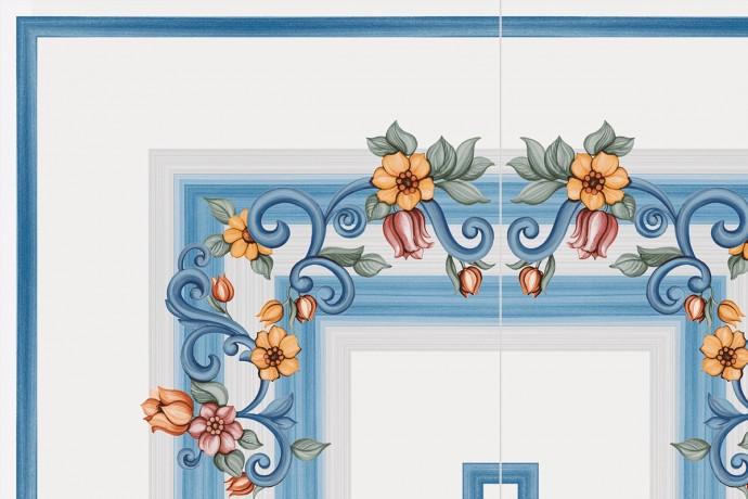 Blue 'corner' decoration with retro flowers