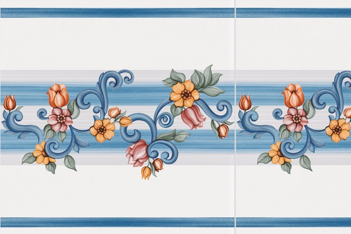 Blue 'band' decoration with retro flowers