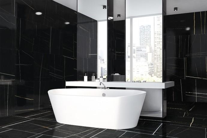 Glänzender modernes Schwarz und Weiß marmor