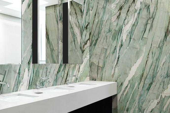 Green semi polished marble