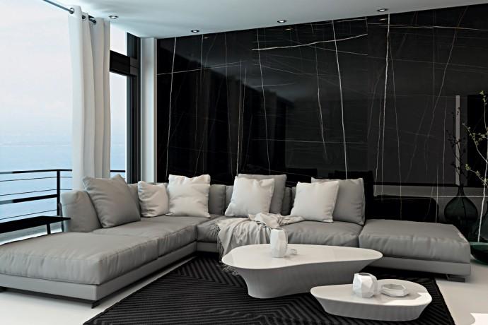 Modern white and black semi polished marble