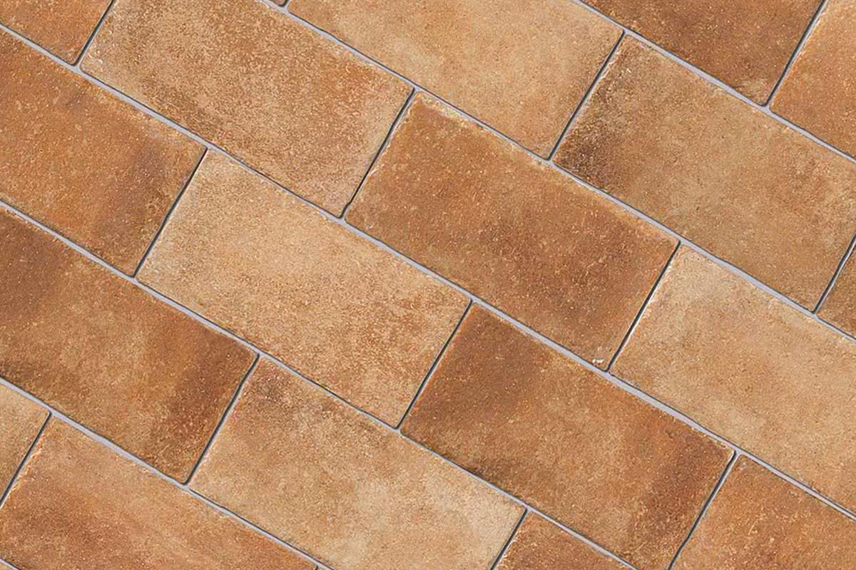 Terracotta Effect Floor Tiles Copper Sandblasted Glazed Porcelain