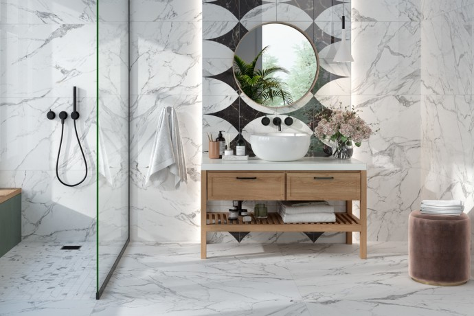 Glossy Statuario marble with grey veins